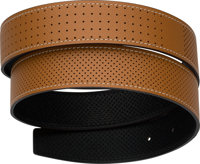 "Hermes 32mm Gold & Black Perforated Epsom Leather Belt Strap Condition: 1 37"" Length"