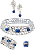 Estate Jewelry:Suites, Sapphire, Diamond, White Gold Jewelry Suite, Mouawad. ... (Total: 4Items)