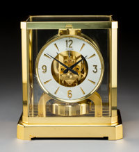 A Jaeger-LeCoultre Brass and Glass Atmos Clock, Le Sentier, Le Chenit, Switzerland, circa 1970 Marks to face: L