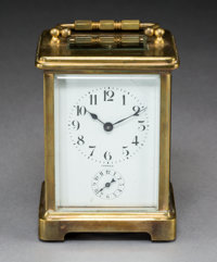 A French Brass and Beveled Glass Carriage Clock with Enameled Porcelain Face in Fitted Case, early 20th century M... (To...