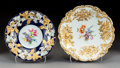Ceramics & Porcelain, Continental:Modern  (1900 1949)  , Two Meissen Polychromed and Gilt Embossed Porcelain Bowls, Meissen, Germany, early 20th century . Marks: (crossed swords in ... (Total: 2 Items)