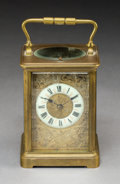Decorative Arts, French:Other , A French Brass and Beveled Glass Carriage Clock with EnameledPorcelain Face in Fitted Case, circa 1900. Marks: S, F, 5...