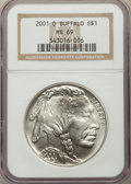 Modern Issues, 2001-D $1 Buffalo Silver Dollar MS69 NGC. NGC Census: (13169/2017). PCGS Population: (15215/1655). CDN: $100 Whsle. Bid for...