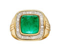 Estate Jewelry:Rings, Gentleman's Emerald, Diamond, Gold Ring . ...