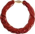 Estate Jewelry:Necklaces, Diamond, Coral, Gold Necklace, Fred, Paris. ...