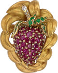 Estate Jewelry:Brooches - Pins, Ruby, Emerald, Diamond, Gold Brooch, Neiman Marcus. ...
