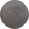 Patterns, (1850-1866) Type One Double Eagle, Reverse Die Trial, Copper, AU50 NGC....