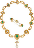 Estate Jewelry:Suites, Antique Emerald, Freshwater Pearl, Gold Jewelry Suite. ...