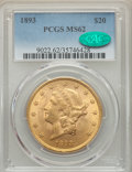 Liberty Double Eagles: , 1893 $20 MS62 PCGS. CAC. PCGS Population: (2171/1010). NGC Census: (2615/873). MS62. Mintage 344,200. ...