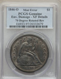 Errors, 1846-O $1 Seated Dollar -- Environmental Damage, 70 Degrees Rotated Reverse -- PCGS Genuine. XF Details. OC-1, R.5 with rotat...