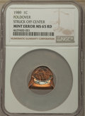 Errors, 1989 1C Lincoln Cent -- Foldover, Struck Off Center -- MS65 Red NGC. ...