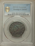 Large Cents, 1830 1C Large Letters, N-9, R.6 -- Damage -- PCGS Genuine. Good Details. Incorrectly designated by PCGS as 1833. NGC Census...
