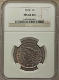 Large Cents: , 1818 1C MS64 Brown NGC. NGC Census: (91/13). PCGS Population: (70/10). CDN: $850 Whsle. Bid for problem-free NGC/PCGS MS64....