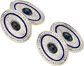 Estate Jewelry:Cufflinks, Sapphire, Enamel, Gold Cuff Links. ...