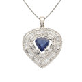 Estate Jewelry:Pendants and Lockets, Sapphire, Diamond, White Gold Pendant-Necklace. ...