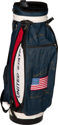 Golf Collectibles:Bags/Flagsticks/Clothing, 1996 Presidents Cup United States Team Signed Golf Bag....