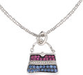 Estate Jewelry:Pendants and Lockets, Ruby, Sapphire, Diamond, White Gold Pendant-Necklace, Mirabelle....