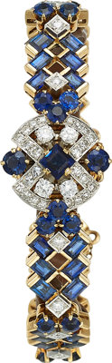 Jaeger Le Coultre Lady's Diamond, Sapphire, Gold Covered Dial Watch, French, Retailed by Neiman Marcus