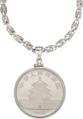 Estate Jewelry:Pendants and Lockets, Chinese Platinum Coin, White Gold Pendant-Necklace. ...
