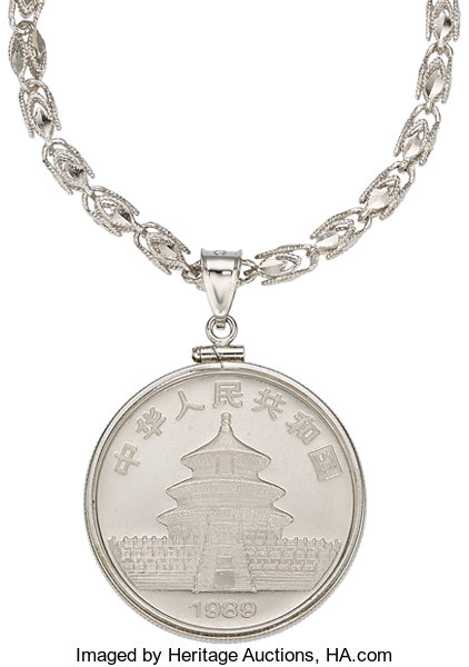 Estate Jewelry Pendants And Lockets Chinese Platinum Coin White Gold Pendant Necklace