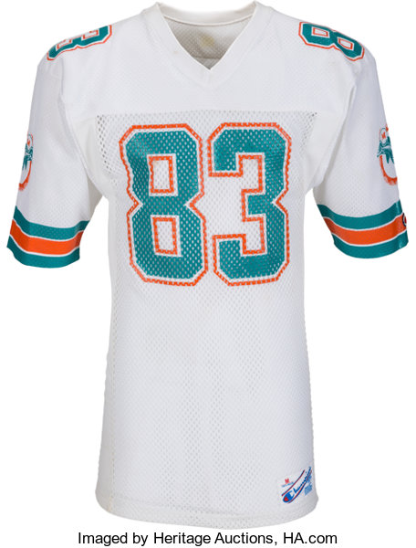 uk availability 36885 0b4bd 1987 Mark Clayton Game Worn & Signed Miami Dolphins Jersey ...