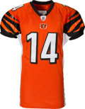 Football Collectibles:Uniforms, 2011 Andy Dalton Game Worn & Unwashed Rookie Cincinnati Bengals Jersey - Photo Matched to 12/24 vs. Cardinals....