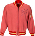 Football Collectibles:Uniforms, Late 1960's/Early 1970's Len Dawson Game Worn & Signed Kansas City Chiefs Sideline Jacket. ...