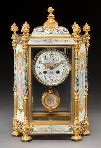 A Janetti Padre e Figli Gilt Bronze, Porcelain, and Champlevé Enamel Table Clock, Turin, Florence, Rome, and Napl...