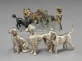 Decorative Arts, Continental, Seven German Silver and Austrian Cold-Painted Bronze Dog Figures.Marks to three: 800. 1-3/4 inches (4.4 cm) (tallest, p...(Total: 4 Items)