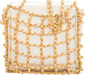 """Luxury Accessories:Bags, Chanel Metallic Lambskin Leather Bag with Gold Hardware & Chain Netting. Condition: 2. 6"""" Width x 6"""" Height x 1.5"""" Dep..."""