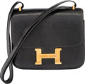 Luxury Accessories:Bags, Hermes 18cm Black Lizard Double Gusset Constance Bag with GoldHardware. Y Circle, 1995. Condition:...