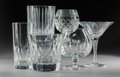 Decorative Arts, French:Other , A Twenty-One-Piece Group of Bacarrat and Lalique Crystal Barware,France, 20th century . Marks to Baccarat pieces: BACCARA...(Total: 21 Items)