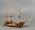 General Americana, A Large Three-Masted Wooden Ship Model of the USSConstitution Frigate by Ben Progosh, 20th century. 37 x 50 x1...