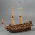 General Americana, A Large Three-Masted Wooden Ship Model of Le Mirage by BenProgosh, 20th century. 30 x 35 x 15 inches (76.2 x 88...