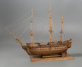 General Americana, A Large Three-Masted Wooden Model of a Warship by Ben Progosh, 20thcentury. 31 x 39 x 13-1/2 inches (78.7 x 99.1 x 34.3 cm)...