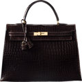"""Luxury Accessories:Bags, Hermes Shiny Ebene Porosus Crocodile Sellier Kelly Bag with Gold Hardware. L Square, 2008. Condition: 3. 14"""" Width..."""