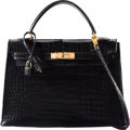 "Luxury Accessories:Bags, Hermes 32cm Shiny Black Crocodile Sellier Kelly Bag with GoldHardware. R Circle, 1988. Condition: 3. 12.5""Width ..."