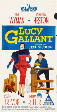 "Lucy Gallant & Other Lot (Paramount, 1955). Australian Three Sheet (41"" X 79"") & Australian On..."