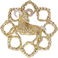 Estate Jewelry:Brooches - Pins, Diamond, Gold Pendant-Brooch The ram pendant-b...