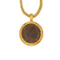 Estate Jewelry:Pendants and Lockets, Ancient Coin, Gold Pendant-Necklace. ...