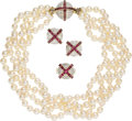 Estate Jewelry:Suites, Diamond, Ruby, Cultured Pearl, Gold Jewelry Suite. ... (Total: 3Items)