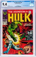Silver Age (1956-1969):Superhero, The Incredible Hulk #108 (Marvel, 1968) CGC NM 9.4 Off-white towhite pages....