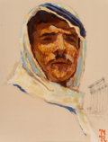 Paintings, Norman Rockwell (American, 1894-1978). Arab, Pan-Am Airlines advertisement study, 1956. Oil and charcoal on board. 11 x ...
