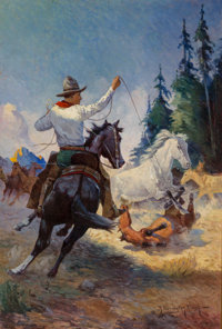 Robert Farrington Elwell (American, 1874-1962) Lassoing Mustangs, probable magazine cover Oil on can