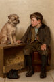 John George Brown (American, 1831-1913) A Confab Oil on canvas 24-1/4 x 16 inches (61.6 x 40.6 cm) Signed lower left...