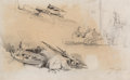 Fine Art - Work on Paper:Drawing, Johan Barthold Jongkind (Dutch, 1819-1891). Études de barques etde personnages and Bateau de pêche au quai (double-sided ...