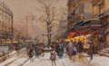 Fine Art - Work on Paper:Watercolor, Eugène Galien- Laloue (French, 1854-1941). PorteSaint-Denis. Gouache with traces of graphite on paper. 7-5/8 x12-1/2 i...