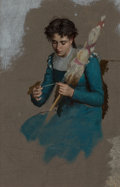 Paintings, Marie François Firmin-Girard (French, 1838-1941). Young woman spinning (oil sketch). Oil with pencil undertones on canva...