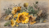 Margaretha Vogel Roosenboom (Dutch, 1843-1896) Spray of sunflowers on a stone ledge Watercolor on pa