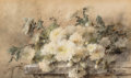 Works on Paper, Margaretha Vogel Roosenboom (Dutch, 1843-1896). Spray of white chrysanthemums on a stone ledge. Watercolor on paper. 19-...